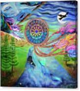 Tribal Dream Catcher Wolf Canvas Print