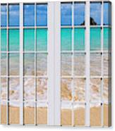 Tropical Paradise Beach Day Windows Canvas Print