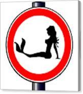 Trucker Mermaid Road Sign Canvas Print