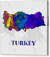 Turkey, Map, Artist Singh Canvas Print