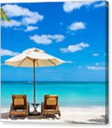 Turquoise Sea, Deckchairs, White Sand Canvas Print