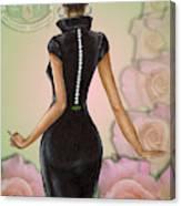 Twenty Pearls N Pink Roses Canvas Print