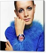 Twiggy in Blue with Union Jack Watch Canvas Print