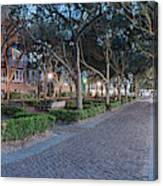 Twilight Panorama Of Charleston Waterfront Park Promenade And Shady Canopy Of Oaks - South Carolina Canvas Print