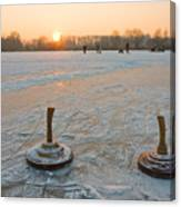 Two Bavarian Curling Stones On A Frozen Canvas Print