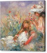 Two Children Seated Among Flowers, 1900 Canvas Print