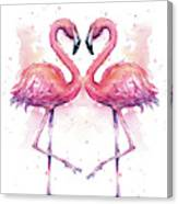 Two Flamingos In Love Watercolor Canvas Print