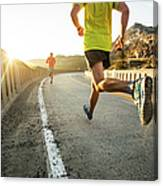 Two Men On An Early Morning Run Canvas Print