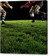 Two Opposing Rugby Players, One Holding Canvas Print