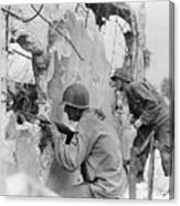 Two Soldiers With Rifles Behind Trees Canvas Print