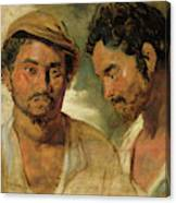 Two Studies Of A Man, Head And Shoulders Canvas Print