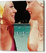 Two Women By Pool Canvas Print