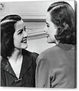 Two Women Conversing In Living Room, B&w Canvas Print