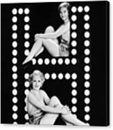 Two Young Women Posing With The Letter H Canvas Print