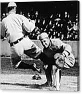 Ty Cobb Sliding Into Catcher Canvas Print