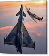 Typhoon And Spitfire Synchro-pair Display Team Canvas Print