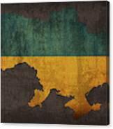 Ukraine Country Flag Map Canvas Print