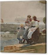 Under The Cliff, Cullercoats , 1881 Canvas Print