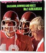 University Of Arkansas Coach Lou Holtz, Qb Ron Calcagni Sports Illustrated Cover Canvas Print