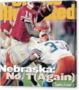 University Of Nebraska Qb Tommie Frazier, 1996 Tostitos Sports Illustrated Cover Canvas Print