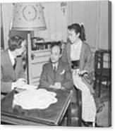 Upi Journalist Interviewing Japanese Canvas Print