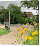 Urban Pathways Butler Park At Austin Hike And Bike Trail With Train Canvas Print