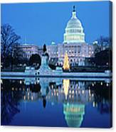 Us Capitol And Christmas Tree Canvas Print