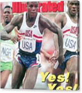 Usa Carl Lewis And Dennis Mitchell, 1992 Summer Olympics Sports Illustrated Cover Canvas Print