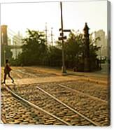 Usa, New York, Brooklyn, Woman Crossing Canvas Print