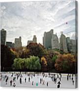 Usa, New York City, People Ice Skating Canvas Print