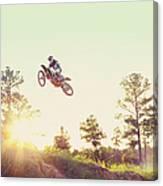 Usa, Texas, Austin, Dirt Bike Jumping Canvas Print