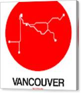 Vancouver Red Subway Map Canvas Print