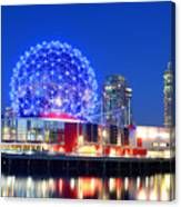 Vancouver Science World At Night Canvas Print