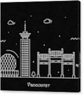 Vancouver Skyline Travel Poster Canvas Print