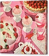 Variety Of Strawberry Desserts Canvas Print