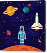 Vector Flat Space Elements With Canvas Print