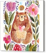 Vector Illustration Adorable Bear In Canvas Print