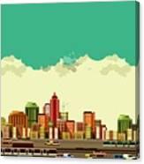 Vector Illustration Big City Panoramic Canvas Print