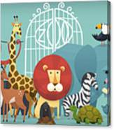 Vector Illustration Card With Animals Canvas Print