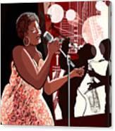 Vector Illustration Of Singer On Grunge Canvas Print