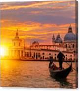 Venetian Gondolier Punting Gondola Canvas Print