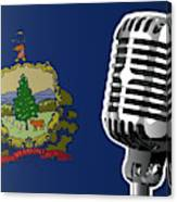 Vermont Flag And Microphone Canvas Print