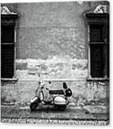 Vespa Piaggio. Black And White Canvas Print