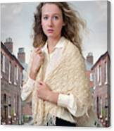 Victorian Woman On A Cobbled Terraced Street Canvas Print