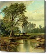 View Of Burlington, New Jersey, 1856 Canvas Print