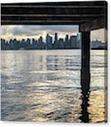 View Of Downtown Seattle At Sunset From Under A Pier Canvas Print
