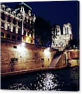 View Of Notre Dame From The Sienne River In Paris, France Canvas Print