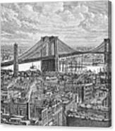 View Of The Brooklyn Bridge Canvas Print