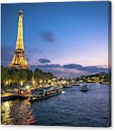 View Of The Eiffel Tower During Sunset From The Scene River Canvas Print