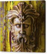Viking Mask On Old Door Canvas Print